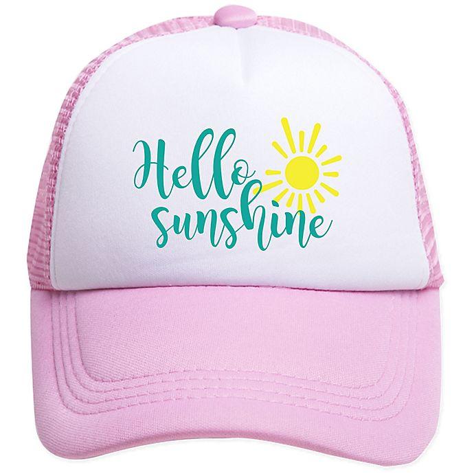 Alternate image 1 for Tiny Trucker Infant Hello Sunshine Trucker Hat in Pink/White