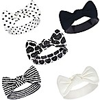 Touched by Nature Size 0-24M 5-Pack Heart Headbands in Black