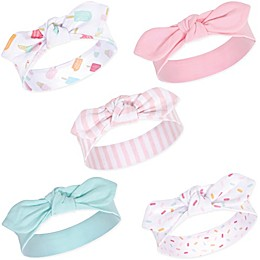 Hudson Baby® Size 0-24M 5-Pack Ice Cream Headbands in Green