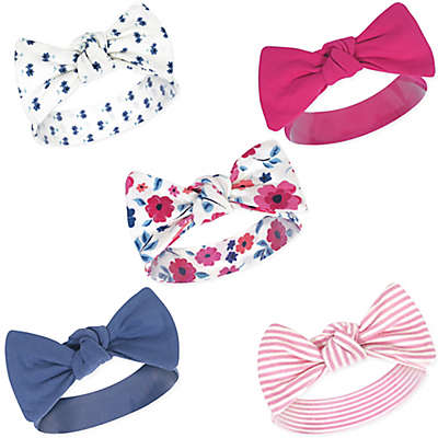 Touched by Nature Size 0-24M 5-Pack Garden Floral Headbands in Blue