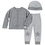 Calvin Klein Size 3-6M 3-Piece Star Cardigan, Pant, and Hat Set in Grey