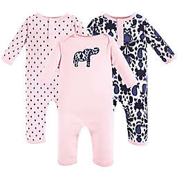 Yoga Sprout 3-Pack Ikat Elephant Coveralls in Pink