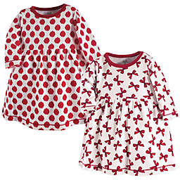 Touched by Nature 2-Pack Bows and Ikat Dots Long Sleeve Dresses in Red