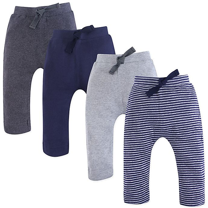 Alternate image 1 for Touched by Nature Size 3-6M 4-Pack Organic Cotton Pants in Grey/Blue