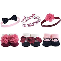 Hudson Baby® 6-Piece Floral Headbands and Socks Set in Burgundy