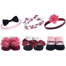 Hudson Baby® 6-Piece Floral Headbands and Socks Set in Burgundy