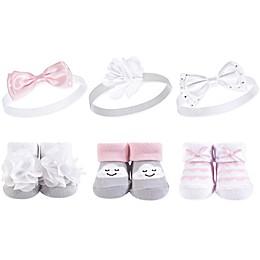 Hudson Baby® Size 0-9M Headband & Sock 6-Piece Gift Set in Cloud