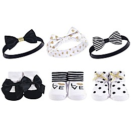 Hudson Baby® Size 0-9M 6-Piece Love Headbands and Socks Set in Black/White