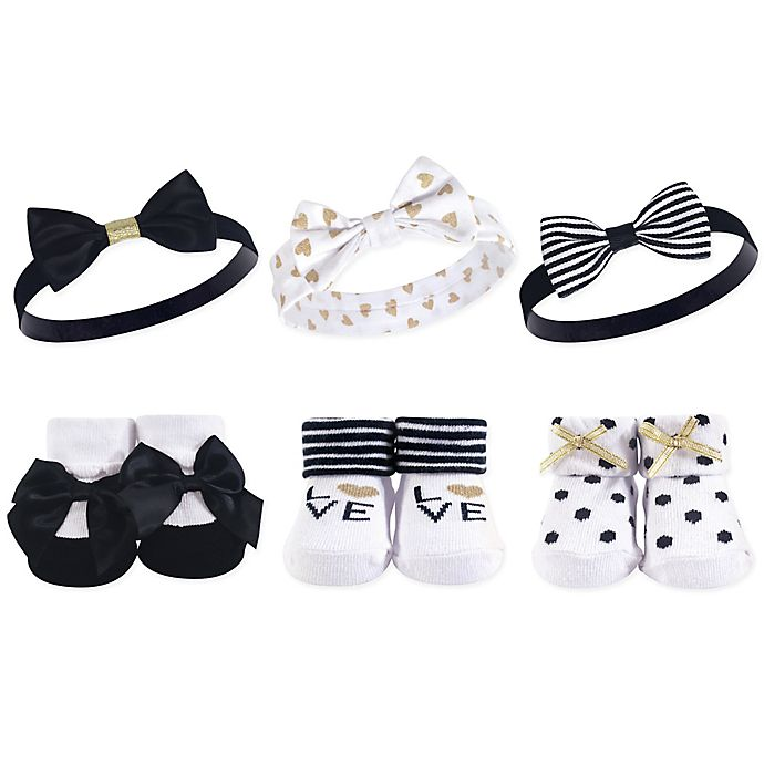 Alternate image 1 for Hudson Baby® Size 0-9M 6-Piece Love Headbands and Socks Set in Black/White