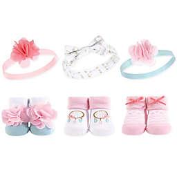 Hudson Baby® Size 0-9M 6-Piece Dreamcatcher Headbands and Socks Set in Pink/White