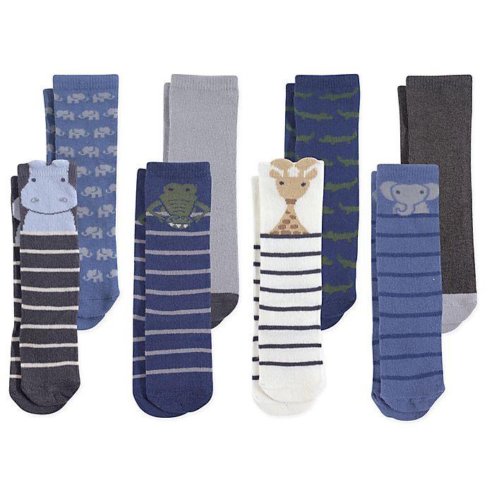 Alternate image 1 for Hudson Baby® 12-24M 8-Pack Safari Boy Knee High Socks in Blue