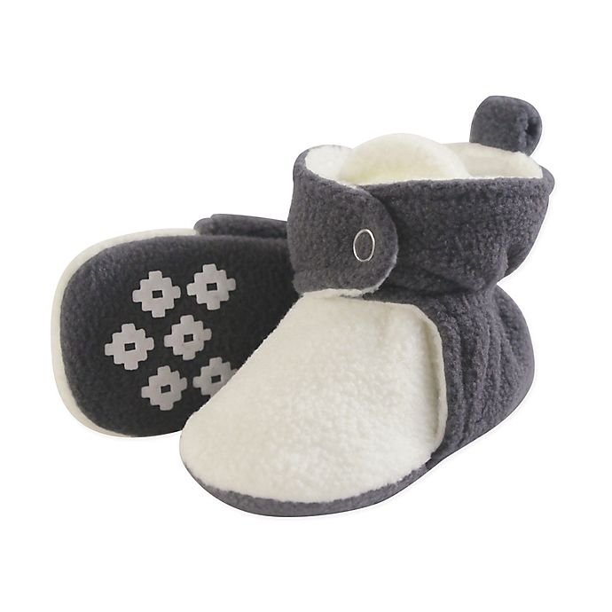 Alternate image 1 for Luvable Friends® Size 12-18M Scooties Fleece Booties in Charcoal/Cream