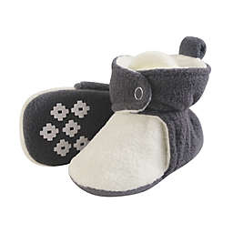 Luvable Friends® Size 6-12M Scooties Fleece Booties in Charcoal/Cream
