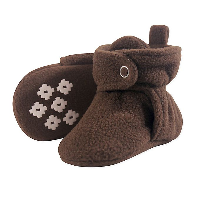Alternate image 1 for Little Treasure Size 12-18M Scooties Fleece Booties in Brown