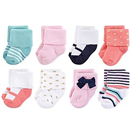 Little Treasures Terry Coral Sparkle 8-Pack Socks in Pink