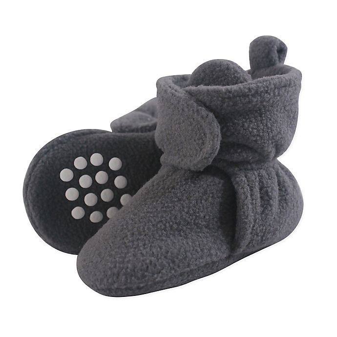 Alternate image 1 for Luvable Friends® Size 0-6M Scooties Fleece Booties in Charcoal