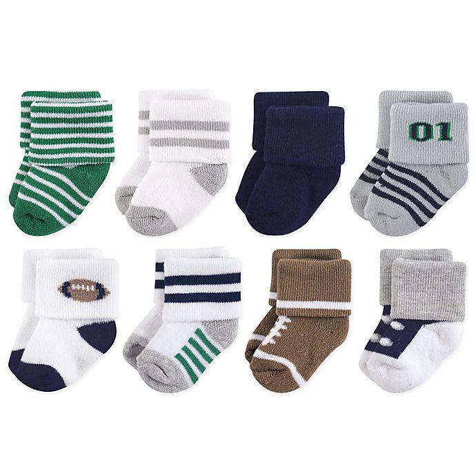 Alternate image 1 for Little Treasures Terry Football 8-Pack Socks in Green