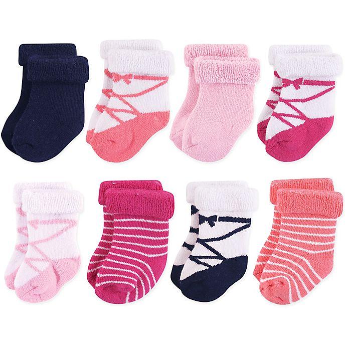 Alternate image 1 for Hudson Baby® 8-Pack Basic Ballet Terry Rolled Cuff Socks