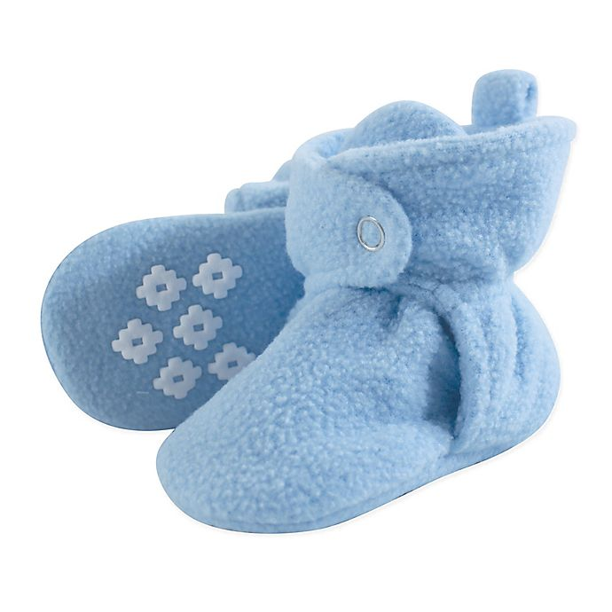 Alternate image 1 for Luvable Friends® Size 12-18M Scooties Fleece Booties in Light Blue