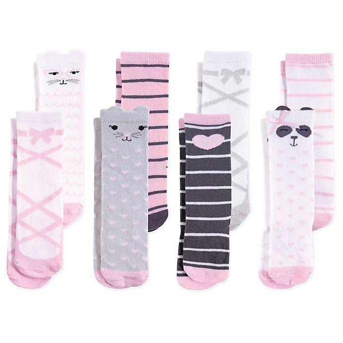 Alternate image 1 for Hudson Baby® Size 12-24M 8-Pack Panda Knee High Socks
