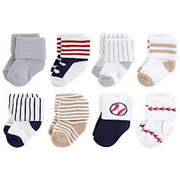 Little Treasures Terry Baseball 8-Pack Socks in Beige