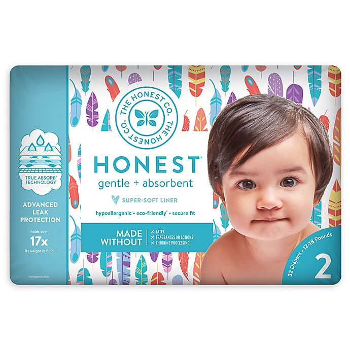 Alternate image 1 for Honest 32-Pack Size 2 Diapers in Painted Feathers Pattern