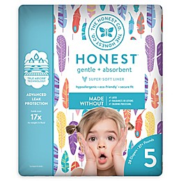 Honest 20-Pack Size 5 Diapers in Painted Feathers Pattern