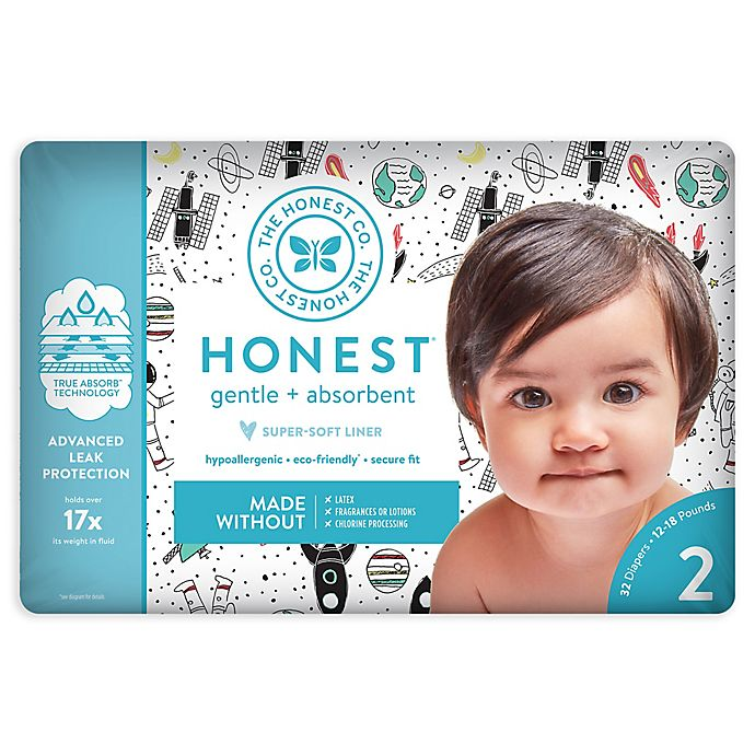 Alternate image 1 for Honest 32-Pack Size 2 Diapers in Space Traveling Pattern
