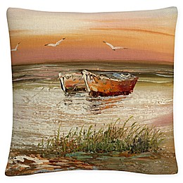 Flordia Sunset Square Throw Pillow in Orange