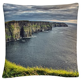 Cliffs of Moher Ireland Square Throw Pillow in Blue