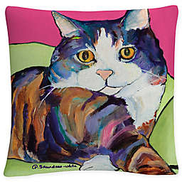 White Ursula Square Throw Pillow in Red