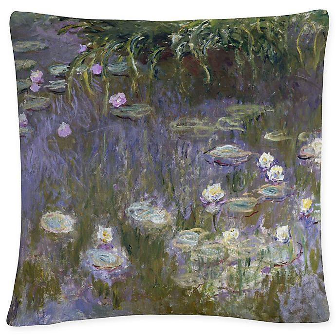 Alternate image 1 for Water Lilies Square Throw Pillow in Grey