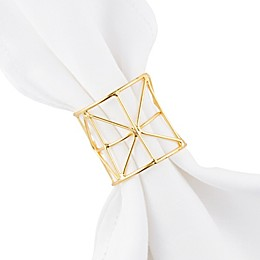 Kassatex Moderne Napkin Rings in Gold (Set of 4)
