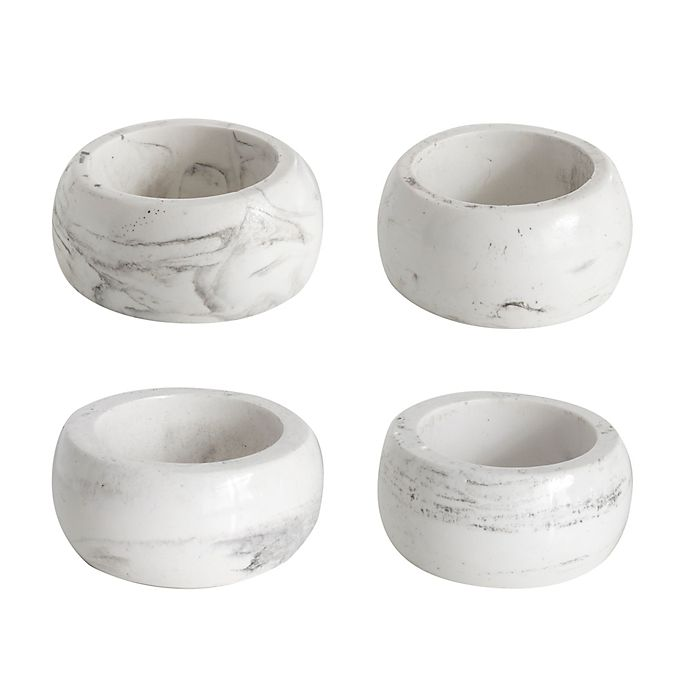 Alternate image 1 for Marbleized Napkin Rings in White (Set of 4)