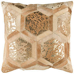 Safavieh Maggie Metallic Cowhide Square Throw Pillow in Beige/Gold