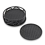 Spectrum™ Rubber Coasters with Scroll Holder (Set of 6)