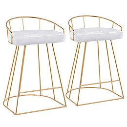 Lumisource® Velvet Canary 25.75-Inch Bar Stools in White (Set of 2)