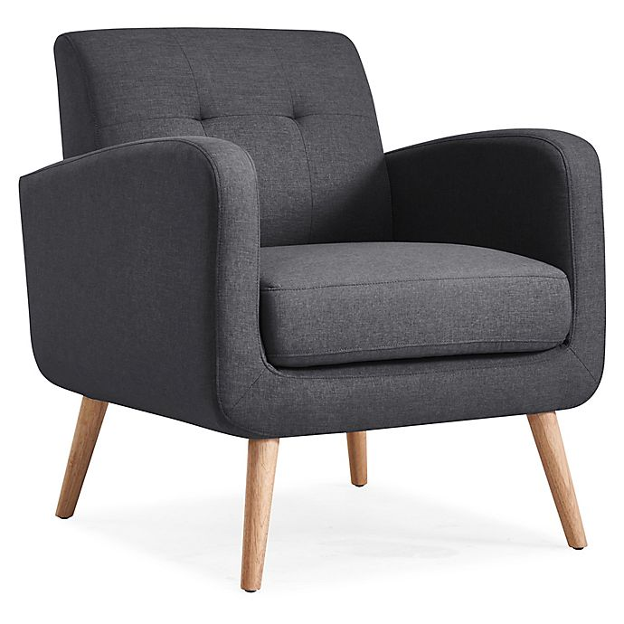 Alternate image 1 for Handy Living® Wood Upholstered Kenneth Chair in Charcoal