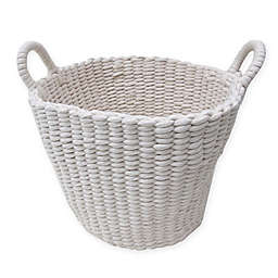 Bee Willow Home Large Round Woven Rope Storage Basket In Ivory