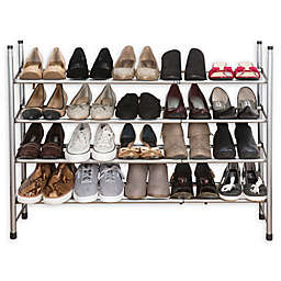 Simplify 4-Tier Expandable Shoe Rack in Grey
