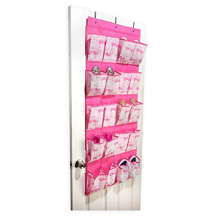 Alternate image 1 for Laura Ashley® Kids Over The Door 16-Pocket Pretty Flamingo Shoe Organizer in Pink