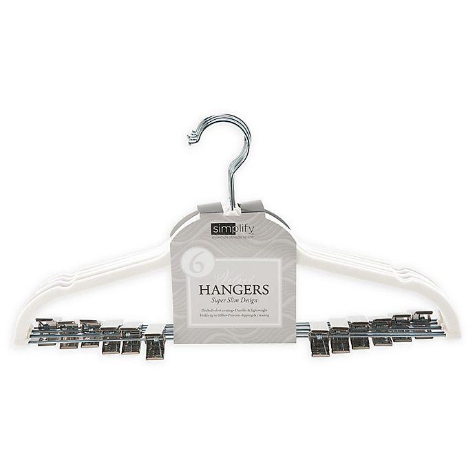 Alternate image 1 for Simplify 6-Pack Velvet Hangers with Clips