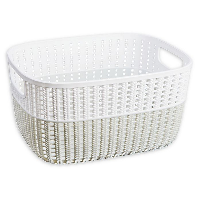Alternate image 1 for Simplify 2-Tone Decorative Small Storage Basket in Heather Grey
