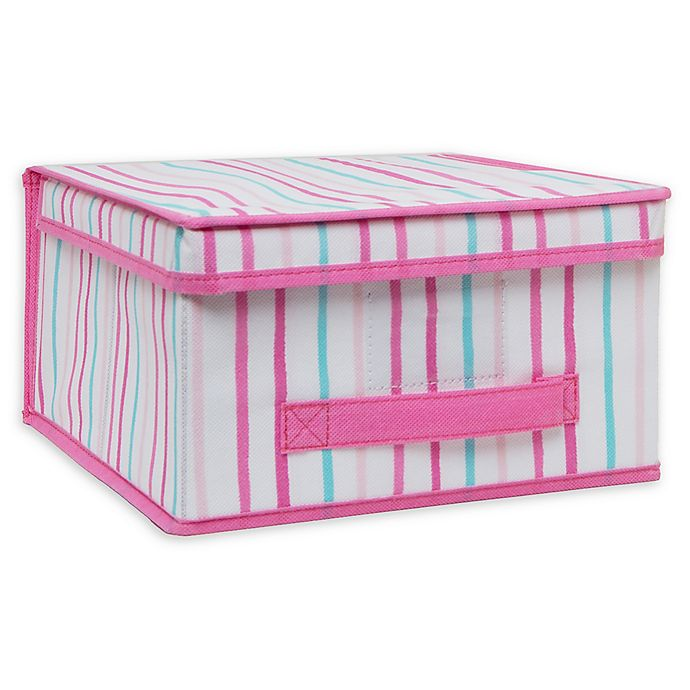 Alternate image 1 for Laura Ashley Kids Medium Collapsible Storage Box in Painterly Pink Stripe