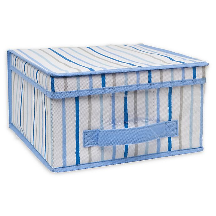 Alternate image 1 for Laura Ashley Kids Medium Collapsible Storage Box in Painterly Blue Stripe