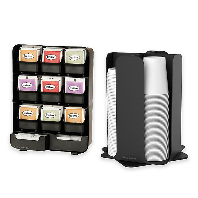 Alternate image 1 for Mind Reader Tea Bag & Condiment Caddy and Cup Organizer in Black