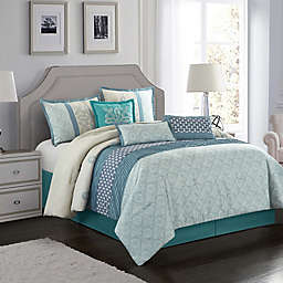 Sandrine 7-Piece California King Comforter Set in Blue