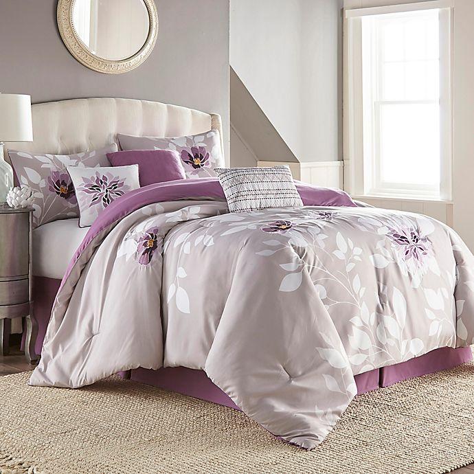 Alternate image 1 for Zalina 7-Piece Queen Comforter Set in Lavender