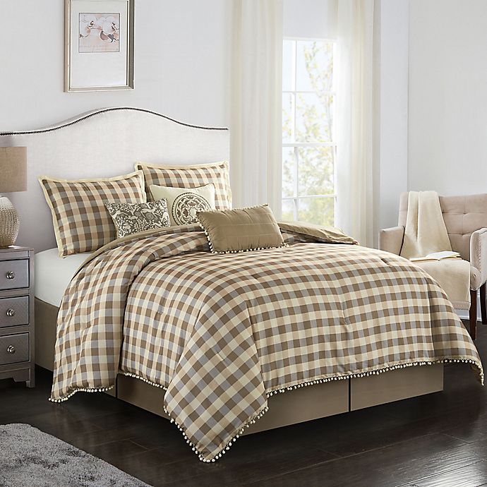 Alternate image 1 for Eton 7-Piece King Comforter Set in Sand