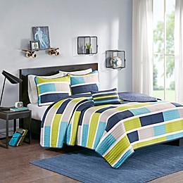 Mi Zone Bradley Colorblock Printed Coverlet Bedding Set